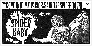 An original newspaper ad for SPIDER BABY.